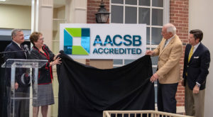 Troy University officials formally announce AACSB International accreditation for the Sorrell College of Business.