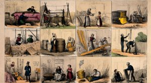 A Victorian-era lithograph depicts men and women working various trades. (Wellcome Library, London. Wellcome Images)