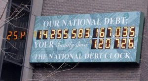 The National Debt Clock in New York City gives a glimpse of each American family's share of the debt. (Wikimedia Commons)