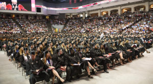 Troy University's spring commencement saw a record capacity for the event in Trojan Arena. (TROY photo/Joey Meredith)