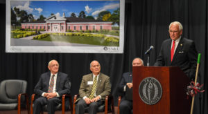 TROY Chancellor Dr. Jack Hawkins, Jr., speaks at the Coleman Hall groundbreaking event in Dothan.