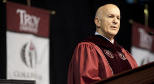 Troy University alumnus David Mallach delivers the keynote address during the  Fall 2014 commencement at the Troy Campus.