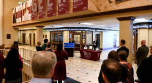 The Sorrell College of Business formally chartered a chapter of the AACSB-affiliated honor society Beta Gamma Sigma on March 6. (TROY photo/Clif Lusk)