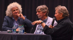 Dan Penn, right, and Spooner Oldham, center, talk about the craft of songwriting with Dr. Kirk Curnutt, left, during an event at the John M. Long School of Music.