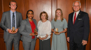 From left to right are: Brennan Garriques; Sandra Thomas; Mrs. Janice Hawkins, Troy University First Lady; Olivia Walleser; and Dr. Jack Hawkins, Jr.