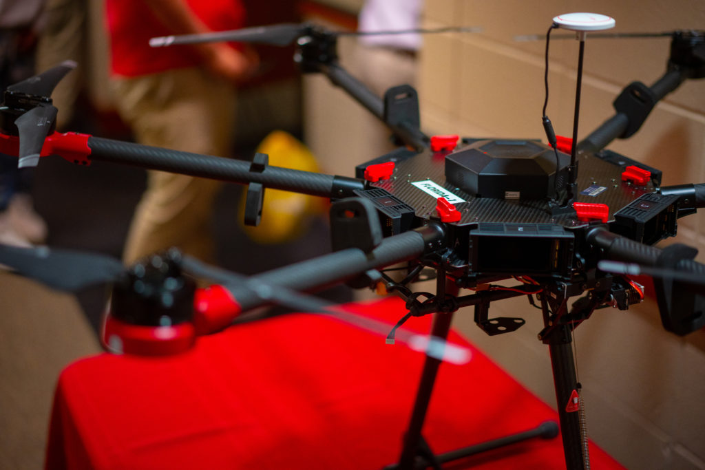 A black and red drone on display during Geo-Day.