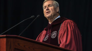 Montgomery Mayor Todd Strange delivers the keynote address on Friday during the spring commencement ceremony at the Troy Campus.