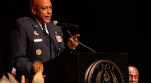 Lt. Gen. Anthony Cotton, commander and president of Air University, speaks during Monday night's commencement ceremony at the Montgomery Campus.