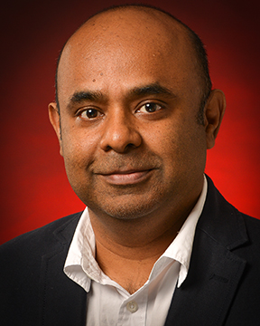 head shot of Dr. Govind Menon, director of the School of Science and Technology and chair of the Department of Math and Physics, shot on Nov. 14, 2017.