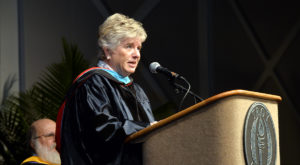 Susan S. Wiggins of the Columbus, Ga.-based W.C. Bradley Company addresses graduates during Friday's commencement ceremony.