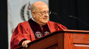 Jimmy Baker, chancellor of Alabama's Community College System, speaks to TROY graduates during summer commencement on Friday.