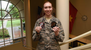 Cadet Kaytlin Morgan designed a new patch for TROY's Air Force ROTC Det. 17. (TROY photo/Clif Lusk)
