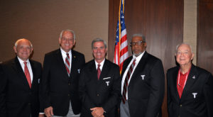 Pictured left to right are Gerald Dial, Chancellor Dr. Jack Hawkins, Jr., Gibson Vance, Lamar Higgins, and John Harrison.