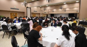 Students participating in the 1+2+1 Sino-American Dual Degree Program at Troy University gather for a welcome luncheon on August 6.