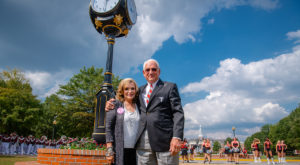 Troy University unveils clock honoring Dr. Jack Hawkins, Jr.'s 30 years as Chancellor