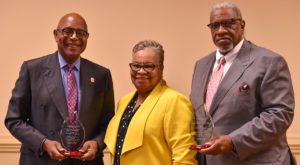 TROY trustee Lamar P. Higgins, right, and former UA trustee Cleo Thomas were recognized for leadership in diversity by ALAHEDO President Dilworth.