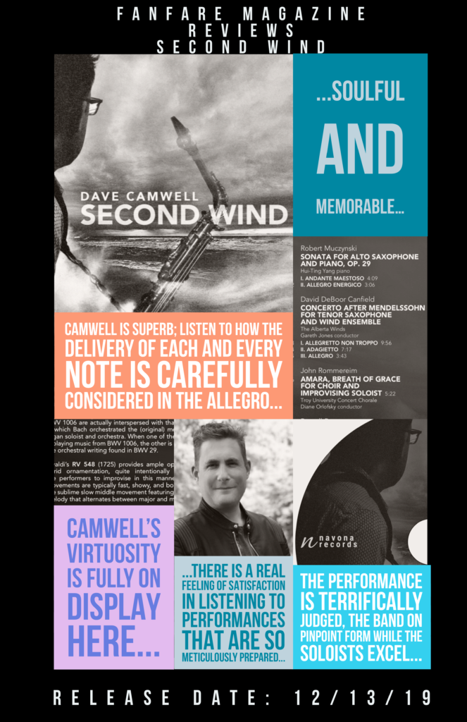 A poster featuring reviews and information about Dr. Dave Camwell's new album Second Wind.