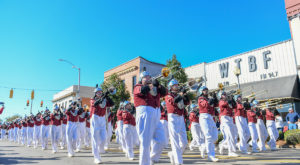 The Sound of the South marching band performs during the 2018 Homecoming Parade. This year's parade is set for 10 a.m., Nov. 9 in downtown Troy.