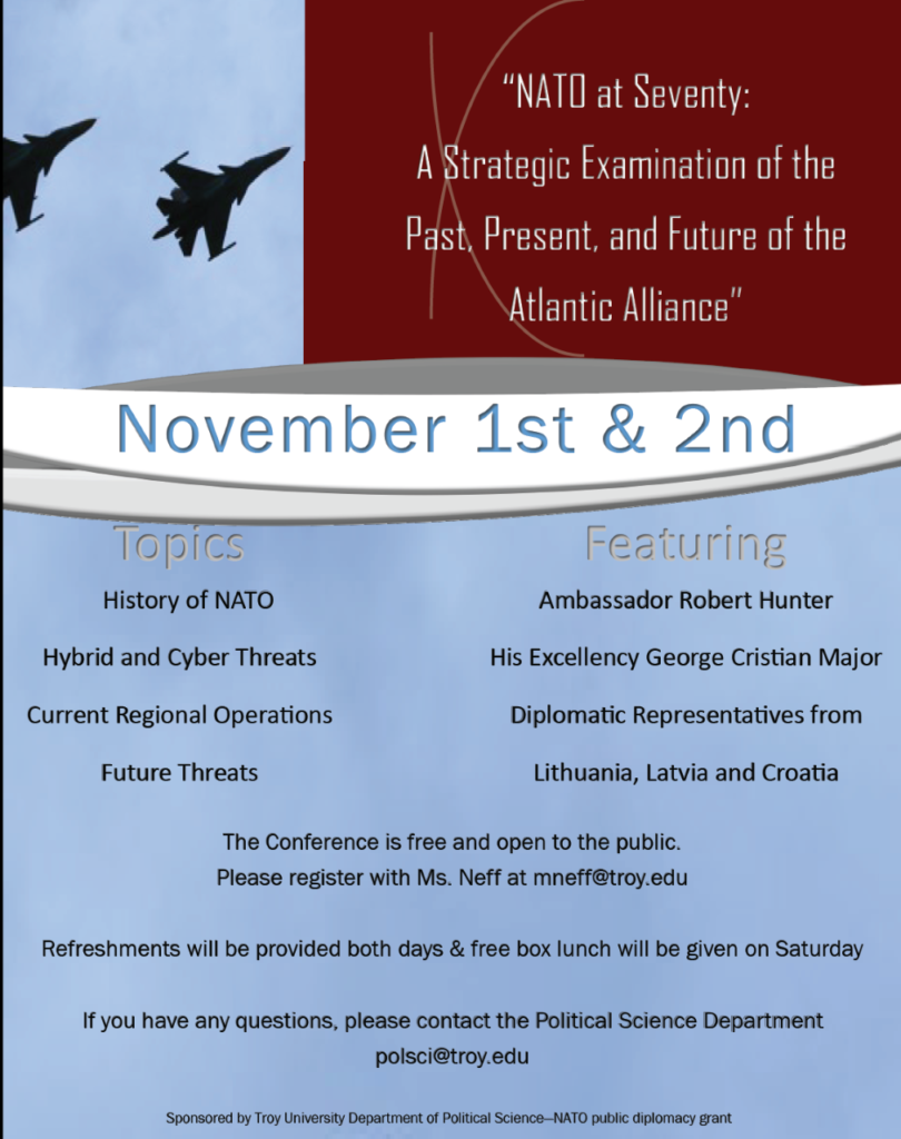 Flyer for the NATO at 70 conference.