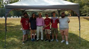Maj. Gen. Walter Givhan, center, and TROY archaeology students took part in an Alabama Bicentennial event at Old Cahawba Archaeological Park.