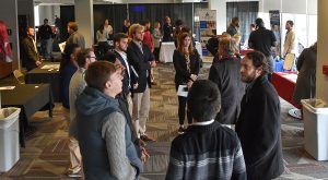 HSTM students participate in an internship fair during the HSTM Colloquium this week in the Stadium Club. (TROY photo/Clif Lusk)