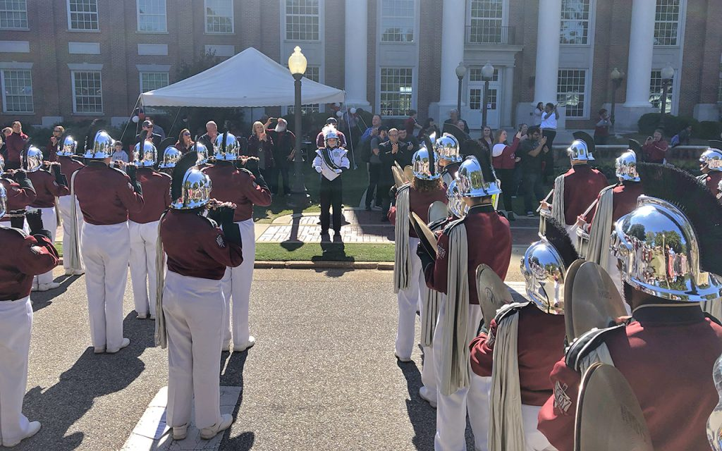The Sound of the South plays the Troy University fight song in front of the drum major reunion tent at Homecoming 2019.