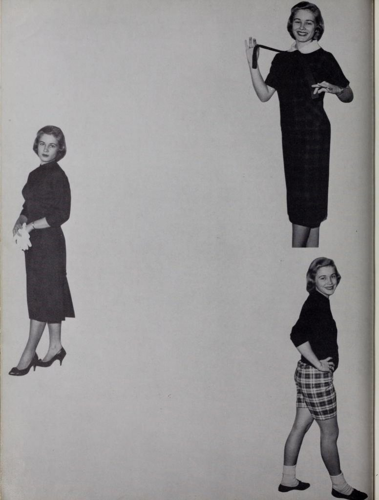 Images of Jane Spear Braswell from the 1959 Palladium, Troy University's yearbook.