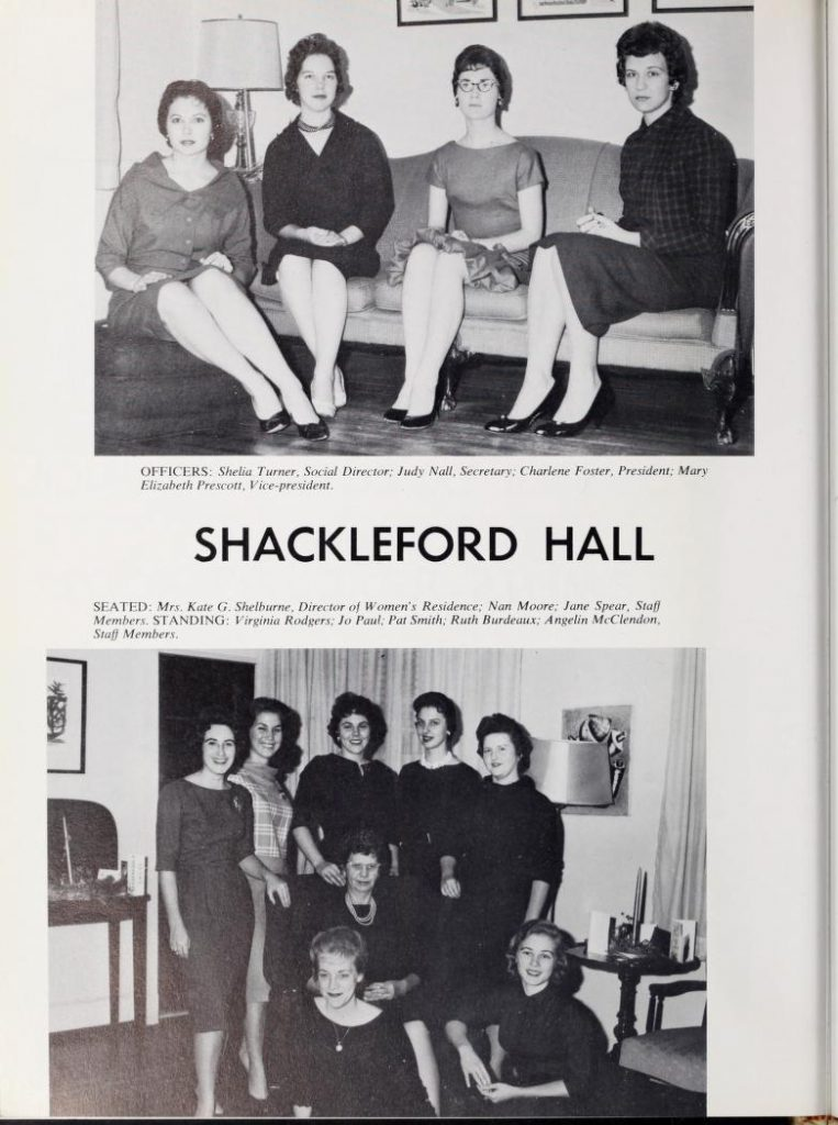Jane Spear Braswell with her fellow Shackelford Hall residents in 1961.