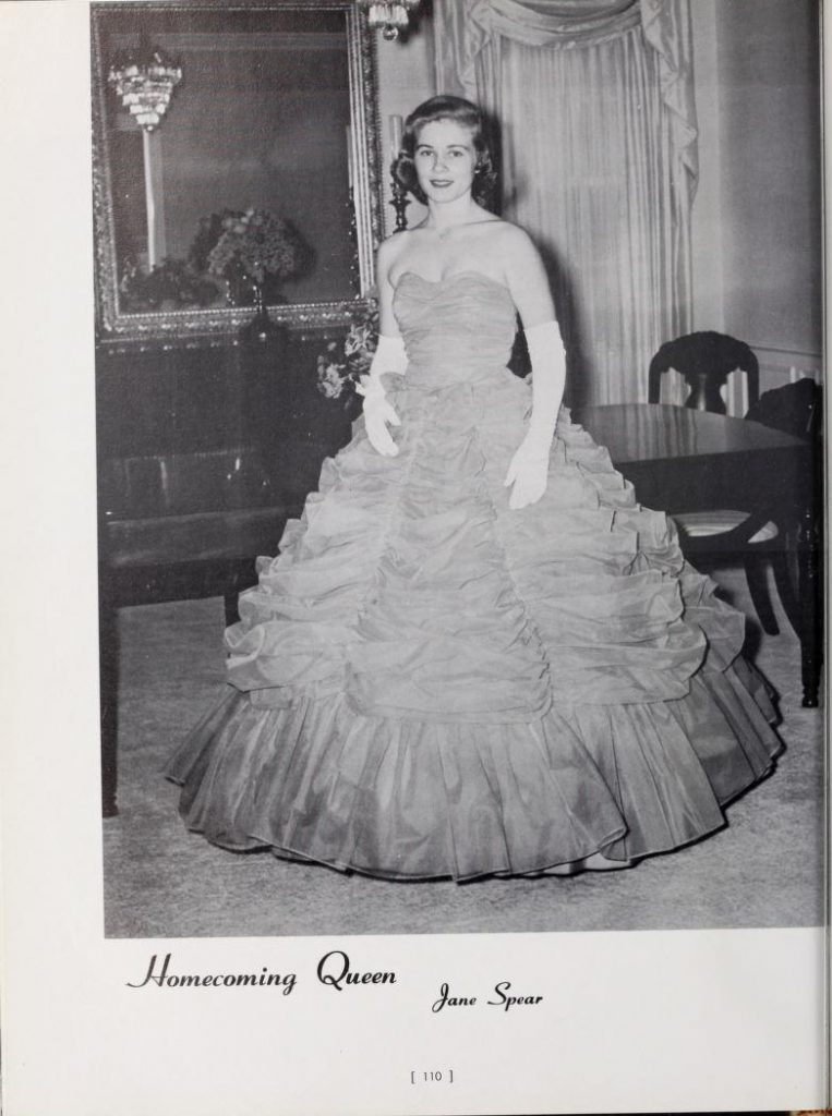 Jane Spear Braswell as Homecoming Queen in the 1961 Palladium.