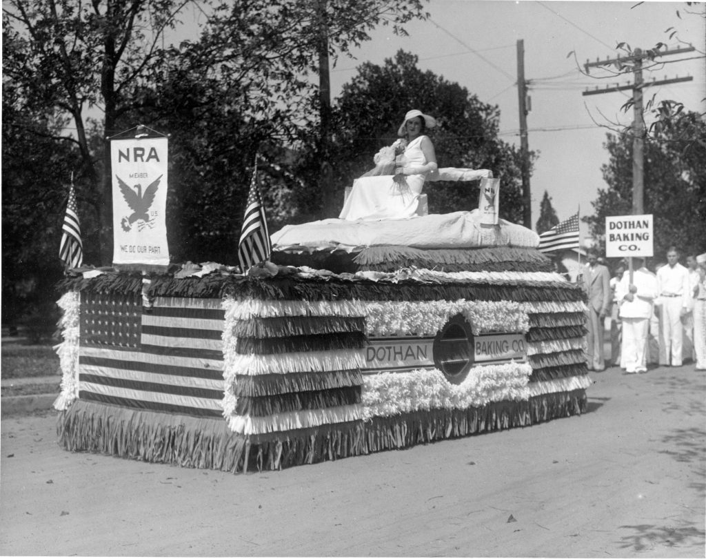Float of Dothan Bread Company, with its sponsor and marching workers, N. Bell St.  NPF Records, RG 715