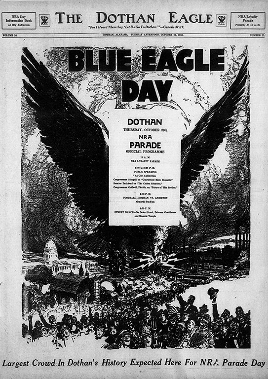 A flyer from the Dothan Eagle advertising Blue Eagle Day