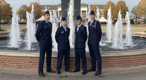 Air Force ROTC cadets (from left) Diego Martinez, Catherine Ross, Kayle Bell and Georgia Ganster are working on their private pilot licenses.