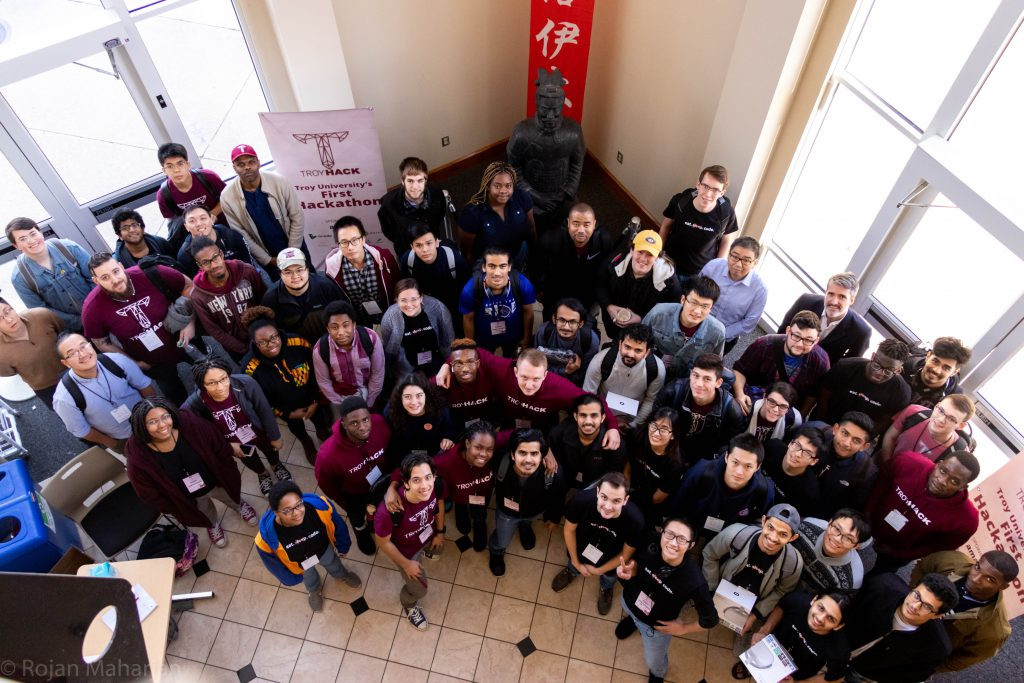 TroyHack students pose in Patterson Hall.
