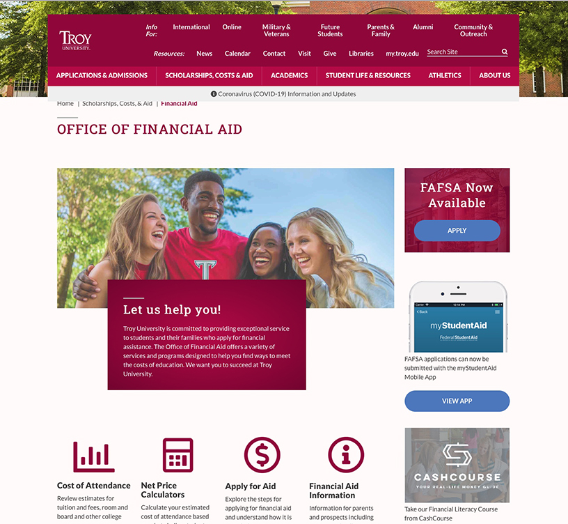 A newly redesigned Financial Aid website has gone live.