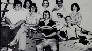 Wendy Parker, far right, with her colleagues on the 1980 Tropolitan staff.
