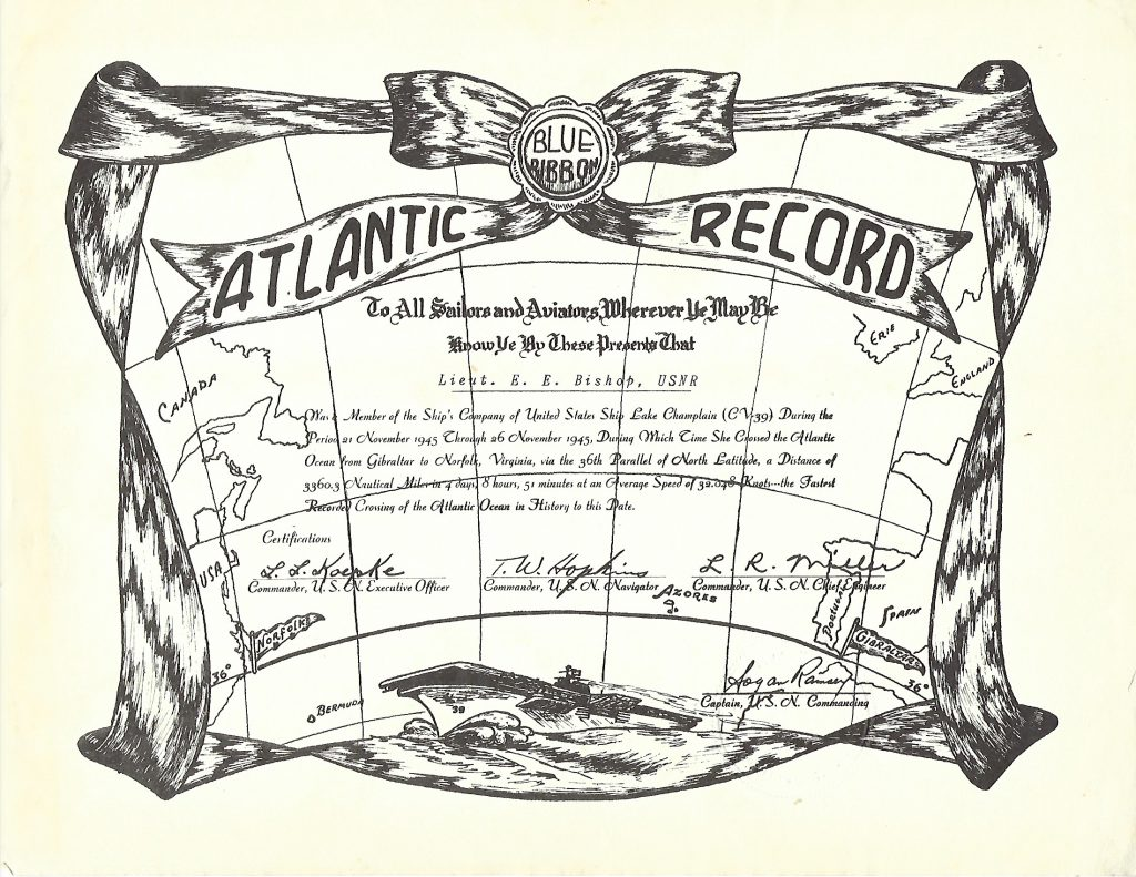 Lt. Bishop's Commemorative Certificate for his 1945 Atlantic Crossing Speed Record.