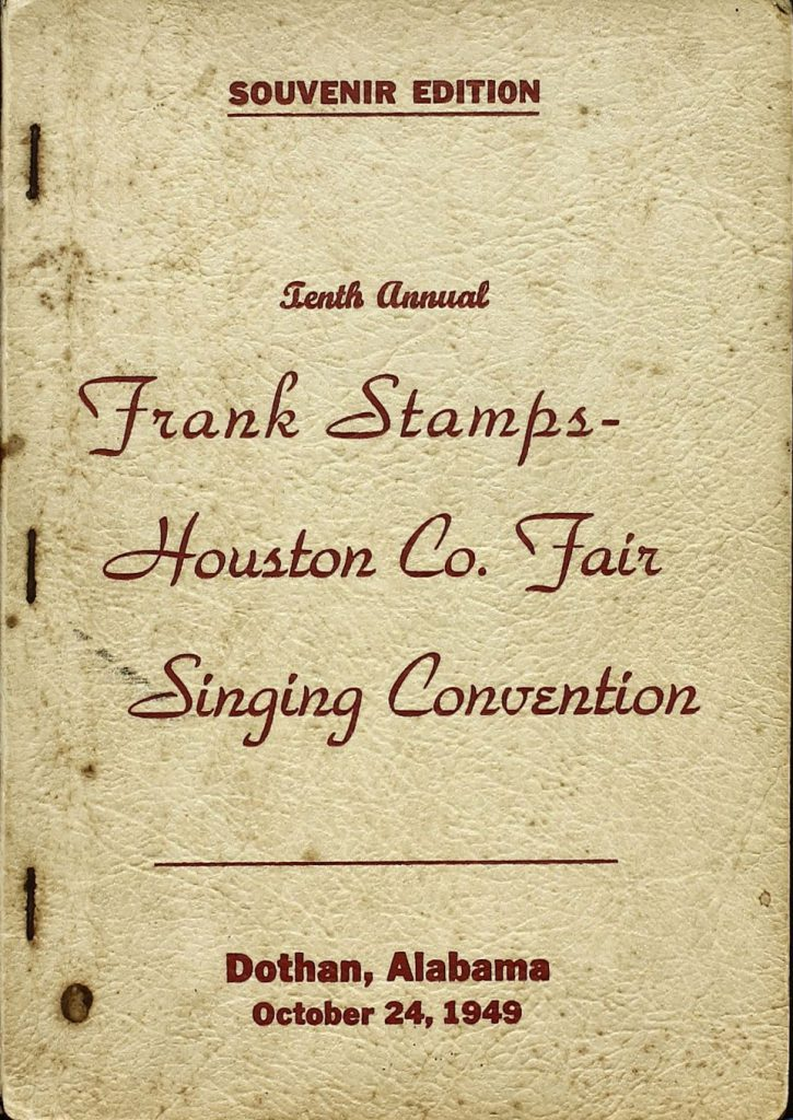 Program for the Frank Stamps Houston County Fair Singing Convention