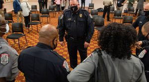 Chief George Beaudry talks with members of the Troy University Police Department following the announcement of his selection to the job. (TROY photo/Joey Meredith)