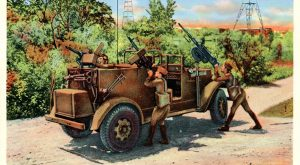 A postcard from the new exhibit depicts troops training with anti-aircraft weaponry at Camp Carrabelle, Florida, which was active from 1942-1946.