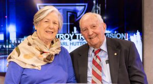 Nancy and Earl Hutto are shown here in TrojanVision's Earl Hutto Studio on the Troy Campus. Mr. Hutto passed away on Monday at the age of 94.
