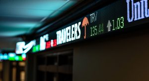 The stock ticker inside the Sorrell College of Business on the Troy Campus