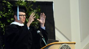 Ben Moser, President and CEO of the United Way of the Chattahoochee Valley, delivers the keynote address during Friday's commencement ceremony.