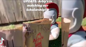 Arby's will match the University's portion of the scholarship, bringing the total to $1,000 for the winning students.