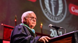 Dr. Larry Peevy provides Troy University students with three keys to success during Monday's Honors Convocation on the Troy Campus.
