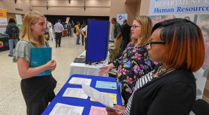 The Career Services team puts together career fairs where students can learn about what it's like to have a job in their chosen field.