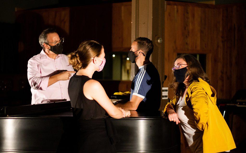 Tad Wilson, Micayla Johnston, Tyler McLellan, Tori Lee Averett during production for Tinyard Hill.