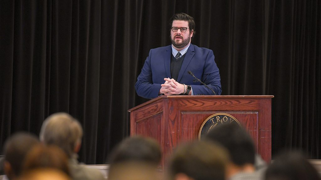 Micah Grimes speaks to a group of students at the 2019 M. Stanton Evans Symposium.