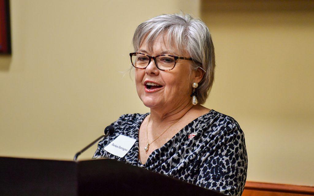 Alumni Barbara Herrington speaks at the alumni luncheon.
